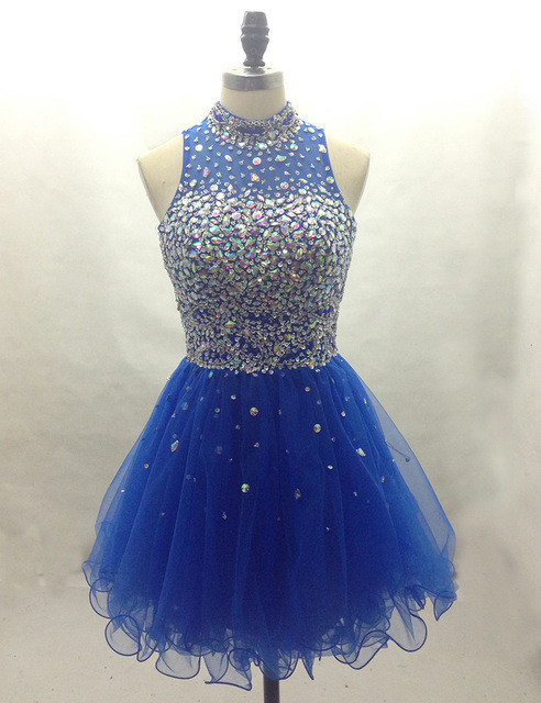 O-Neck A-Line Homecoming Dresses,Short Prom Dresses,Cheap ...