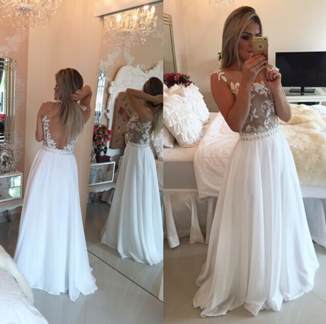 O-Neck Appliques chiffon Prom Dresses,Long Prom Dresses,Cheap Prom Dresses, Evening Dress Prom Gowns, Formal Women Dress,Prom Dress,C249