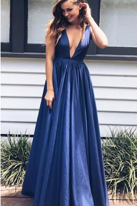 Elegant A-Line V-Neck Prom Dresses,Long Prom Dresses,Cheap Prom Dresses, Evening Dress Prom Gowns, Formal Women Dress,Prom Dress,C489