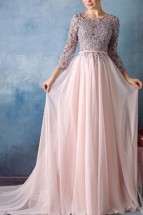 Custom Made Beaded Embroidery Quarter Sleeve Tulle Floor-Length Evening Dress, Prom Dresses, Long Party Dress, Wedding Dress with Lace Applique