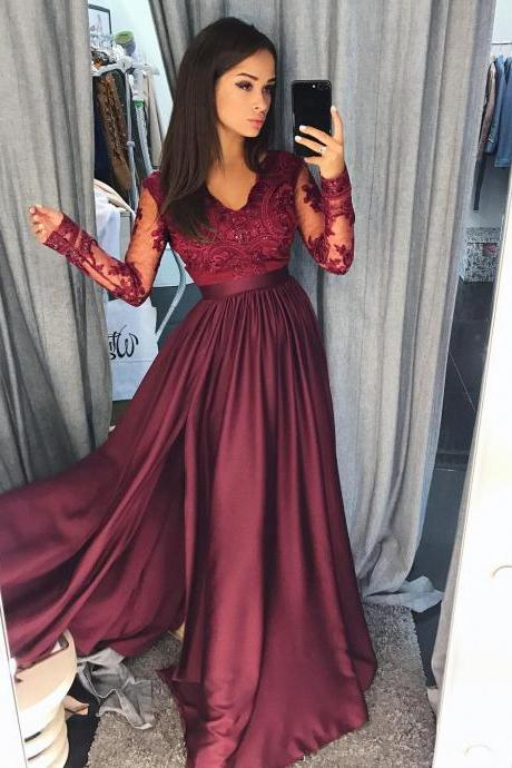 Newest V-Neck A-Line Prom Dresses,Long Prom Dresses,Green Prom Dresses, Evening Dress Prom Gowns, Formal Women Dress,Prom Dress,C654