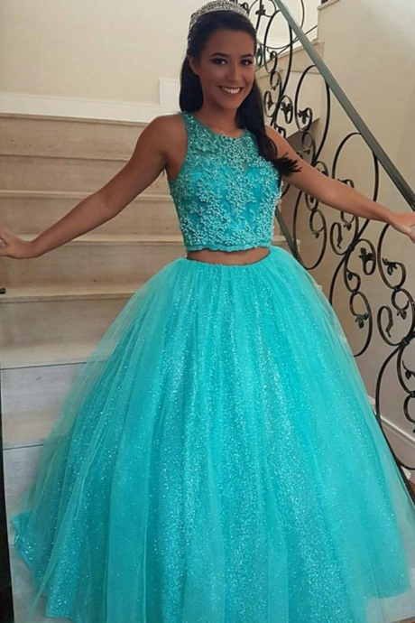 Two pieces O-Neck A-Line Prom Dresses,Long Prom Dresses,Green Prom Dresses, Evening Dress Prom Gowns, Formal Women Dress,Prom Dress,C659