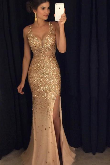 Newest V-Neck Mermaid Beading Prom Dresses,Long Prom Dresses,Green Prom Dresses, Evening Dress Prom Gowns, Formal Women Dress,Prom Dress,C668