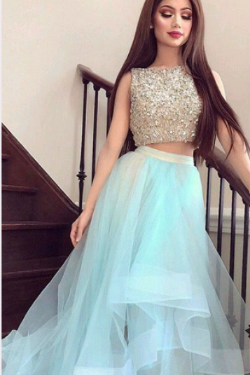 Two Pieces A-Line O-Neck Prom Dresses,Long Prom Dresses,Green Prom Dresses, Evening Dress Prom Gowns, Formal Women Dress,Prom Dress,C691