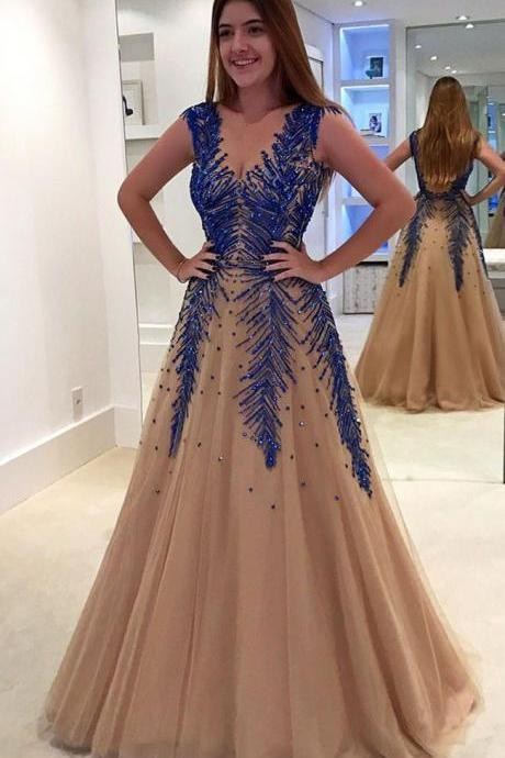 V-Neck A-Line Appliques Prom Dresses,Long Prom Dresses,Green Prom Dresses, Evening Dress Prom Gowns, Formal Women Dress,Prom Dress,C693