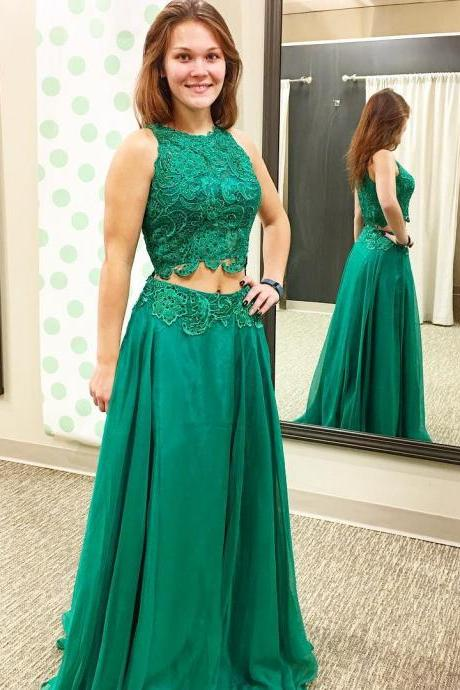 Two Pieces A-Line O-Neck Prom Dresses,Long Prom Dresses,Green Prom Dresses, Evening Dress Prom Gowns, Formal Women Dress,Prom Dress,C698