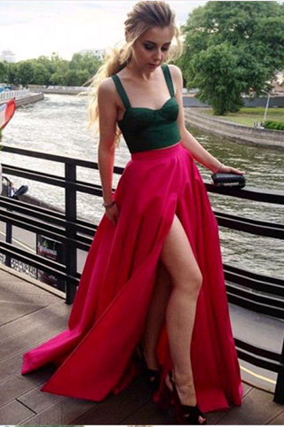 Two Pieces A-Line Prom Dresses,Long Prom Dresses,Green Prom Dresses, Evening Dress Prom Gowns, Formal Women Dress,Prom Dress,C702