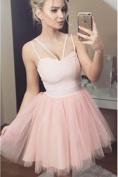 Sexy Spaghetti Straps A-Line Dresses,Short Prom Dresses,Cheap Homecoming Dresses, Graduation Dress, Formal Women Dress,Homecoming Dress,C751