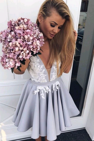 Elegant V-Neck Appliques Dresses,Short Prom Dresses,Cheap Homecoming Dresses, Graduation Dress, Formal Women Dress,Homecoming Dress,C754
