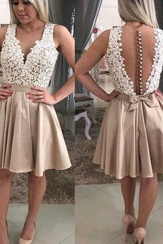 Newest V-Neck Appliques Dresses,Short Prom Dresses,Cheap Homecoming Dresses, Graduation Dress, Formal Women Dress,Homecoming Dress,C755