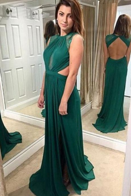 O-Neck Backless A-Line Prom Dresses,Long Prom Dresses,Cheap Prom Dresses, Evening Dress Prom Gowns, Formal Women Dress,Prom Dress,C160