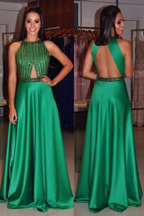 O-Neck Beading A-Line Satin Prom Dresses,Long Prom Dresses,Cheap Prom Dresses, Evening Dress Prom Gowns, Formal Women Dress,Prom Dress,C317