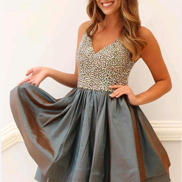 Newest Beading V-Neck Dresses,Short Prom Dresses,Cheap Homecoming Dresses, Graduation Dress, Formal Women Dress,Homecoming Dress,C760